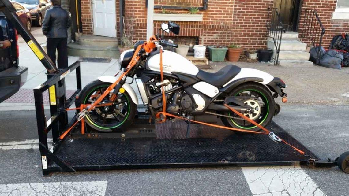 motorcycle getting towed